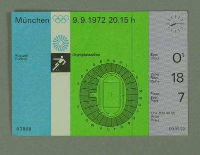 Ticket for 1972 Olympic Games football match, 9 September