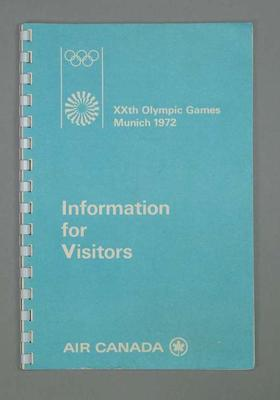 Booklet, 1972 Olympic Games Information for Visitors