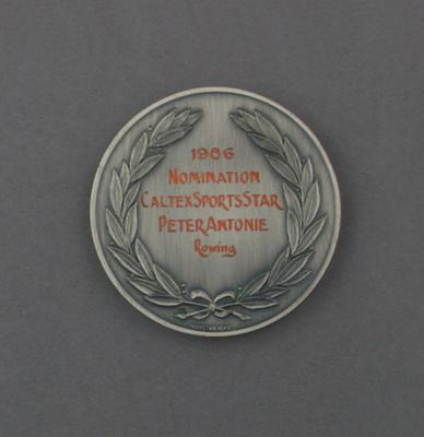 Medallion, Caltex Sports Star of the Year nomination 1986 - Peter Antonie