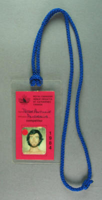 Identity card issued to Peter Antonie, 1984 Royal Canadian Henley Regatta