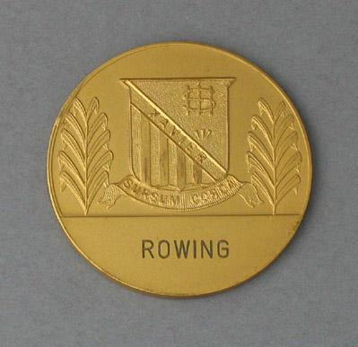 Medal awarded to Peter Antonie, Xavier College Rowing 1st VIII stroke - 1975