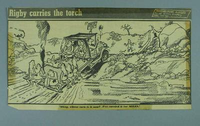 """Cartoon, """"Torch bearers alleged to be hitch-hiking"""" 1956 Olympic Games Relay"""