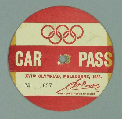 Car pass, 1956 Olympic Games issue