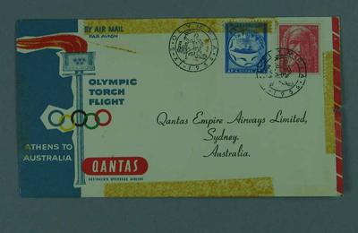First day cover, Qantas Olympic Torch Flight Athens-Australia 2 Nov 1956