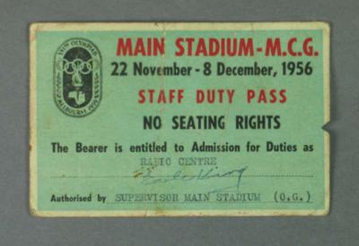 Media pass for 1956 Olympic Games, Main Stadium - MCG