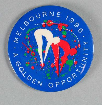 Badge, Melbourne's Bid for 1996 Olympic Games