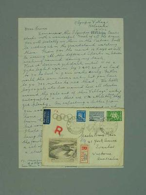 Letter sent to Bruce Moir from 1952 Olympic Games
