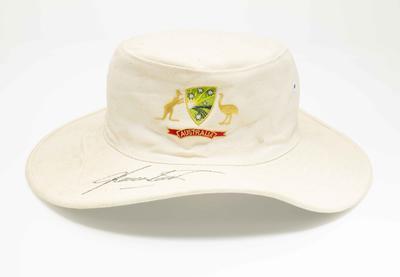 Cricket sun hat worn by Shane Warne in his final MCG Test match, 2006