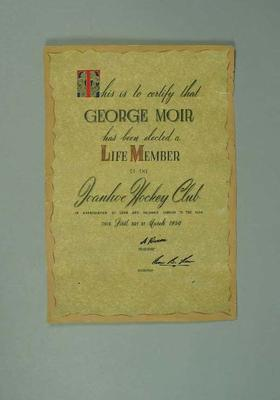 Life membership of Ivanhoe Hockey Club, awarded to George Moir 1 March 1950