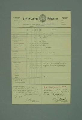 George Moir's 1916 school report