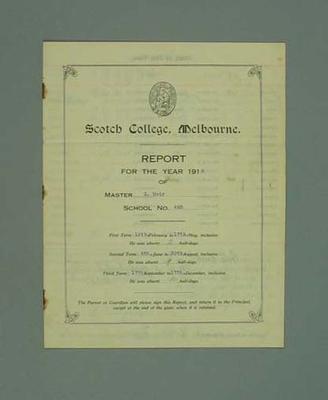 George Moir's 1918 school report