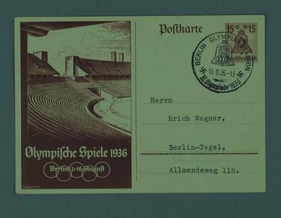 Postcard, 1936 Berlin Olympic Games