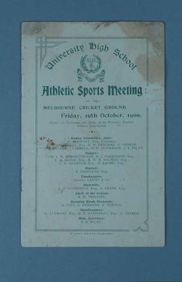 Programme - University High Athletic Sport Meeting, MCG, 19 October 1900