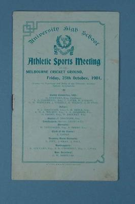 Programme - University High Athletic Sport Meeting, MCG, 25 October 1901