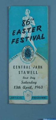Programme, Stawell Easter Gift 1963; Documents and books; 1997.3304.9