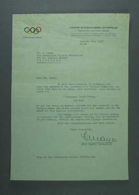 Letter regarding award of Mohammed Taher trophy to John Landy, 3 Oct 1957