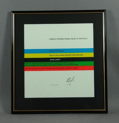 Comite International Pour Le Fair Play certificate, awarded to John Landy on 3 Nov 1988