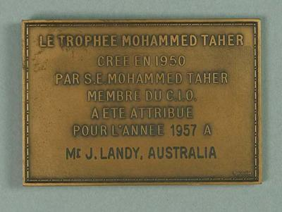 Mohammed Taher trophy, awarded to John Landy 1957
