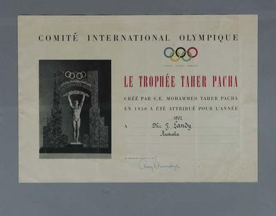 Certificate  presented to John Landy accompanying Mohammed Taher trophy,1957