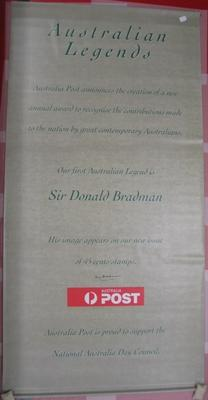Australia Post banner signed by Don Bradman, announcing launch of Don Bradman stamp series.