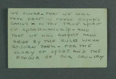 Card with handwritten Olympic Oath, read by John Landy - 1956 Olympic Games; Documents and books; 1999.3584.1