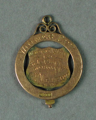 Medal awarded to G F Wright, Marysville Trial Cup, 1st Side Car Class - 29 Sept 1917