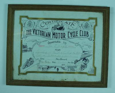 Certificate - The Victorian Motorcycle Club, A.M.C. Trip 1916 awarded to G.F. Wright 3/10/17