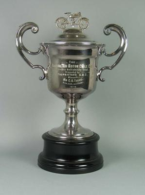 Trophy - The Australian Motor Cycle Club - Final Winner G.F. Wright, 7 H.P. Harley Davidson & Sidecar, 23 July 1924