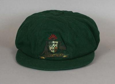 Baggy green Australian Cricket Cap belonging to Clarrie Grimmett.