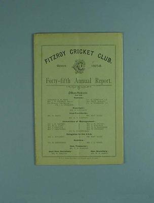 Annual report, Fitzroy Cricket Club - season 1907/08