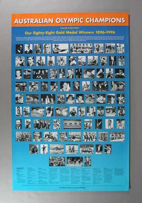 Poster - Australian Olympic Champions ' Our Eighty-Eight Gold Medal Winners 1896-1999'
