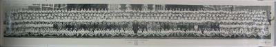 Black and white panoramic school photograph, Bryanston School, October 1953, features pupil Tony Baer.