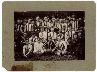 Photograph of Warrnambool Football Team and crowd, c. 1900
