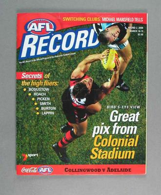 Magazine - 'AFL Football Record', Round 2, autographed by Peter Everitt,16/3/00