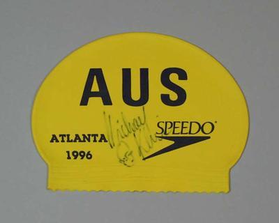 Swimming cap worn by Michael Klim, 1996 Olympic Games, Atlanta