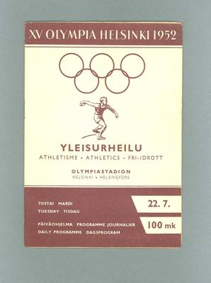Programme for 1952 Olympic Games athletics, 22 July