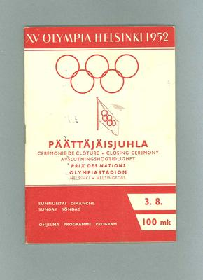 Programme for 1952 Olympic Games closing ceremony
