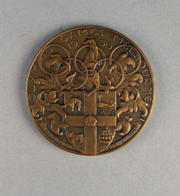 Bronze medallion from 1956 Olympic Games