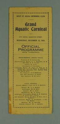 Programme, West St Kilda Swimming Club Grand Aquatic Carnival 12 Dec 1928