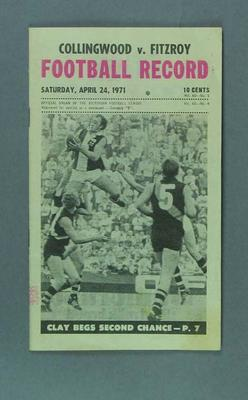 Football Record, Collingwood FC v Fitzroy FC 24 April 1971