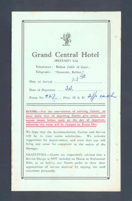 Guest information booklet, The Grand Central Hotel Belfast - c1952