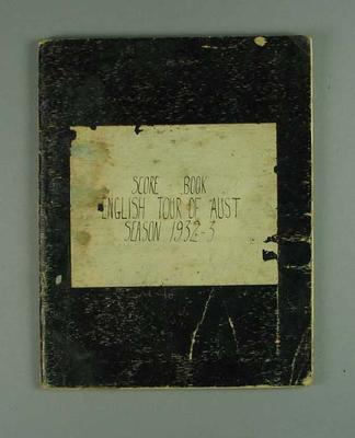 Scorebook detailing Australia v England Test series, 1932-33