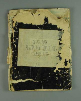 Scorebook detailing Australia v England Test series, 1930