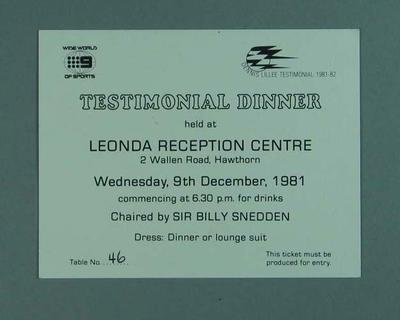 Entry ticket for Dennis Lillee Testimonial Dinner, 9 Dec 1981