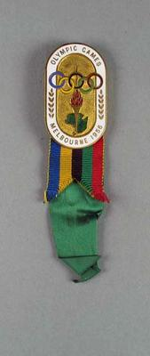 Badge issued for 1956 Olympic Games