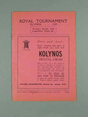 Programme for Royal Tournament, Olympia 1929