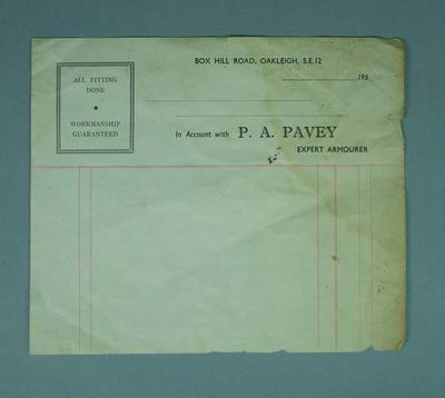 Sheet of paper - 'In Account with P.A. Pavey, Expert Armourer 195....