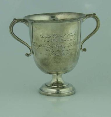 """Inscribed silver cup for yacht """"Independence"""", winner of Royal Yacht Club Race on December 1 1923"""