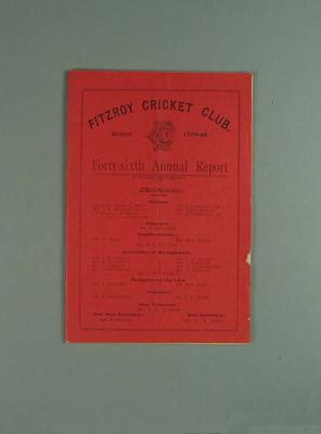 Annual report, Fitzroy Cricket Club - season 1908/09; Documents and books; 1987.1756.12