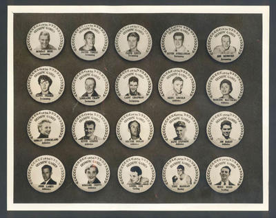 Photograph of button badges featuring Australian athletes, 1956 Olympic Games; Photography; 1998.3394.103